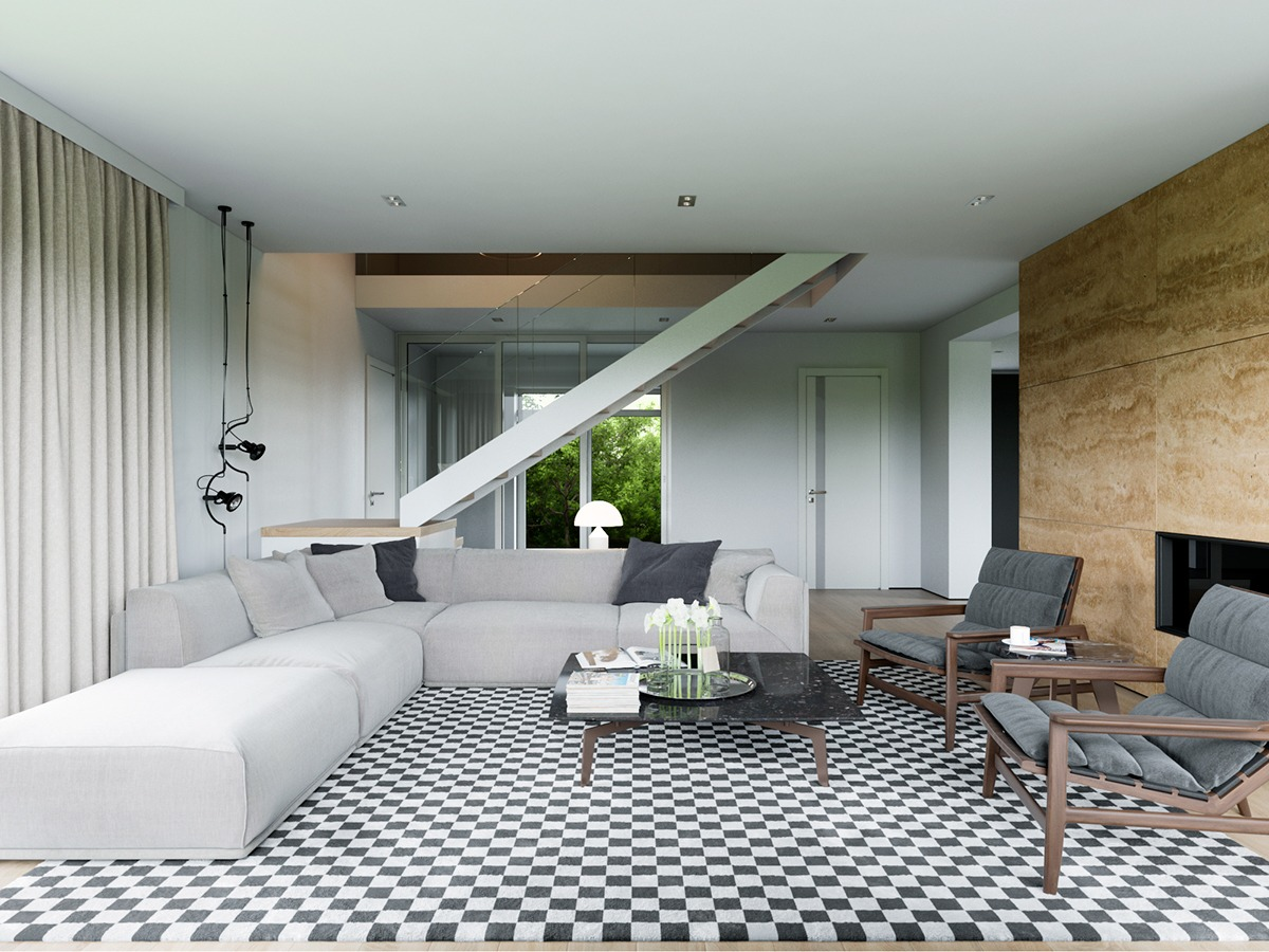 checkered-living-room-rug